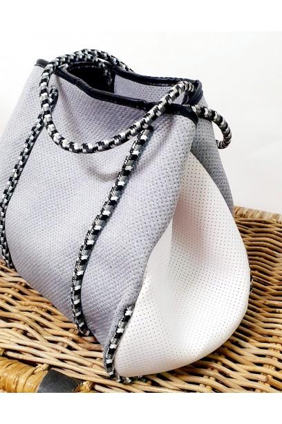 Bolso tipo neopreno dos colores gris y blanco  con opción de personalizarlo