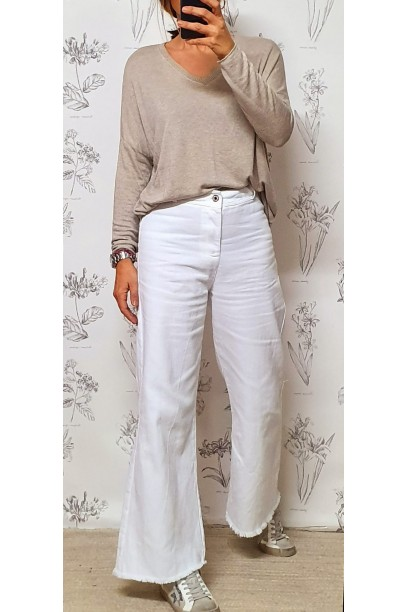 Pantalón vaquero fino blanco