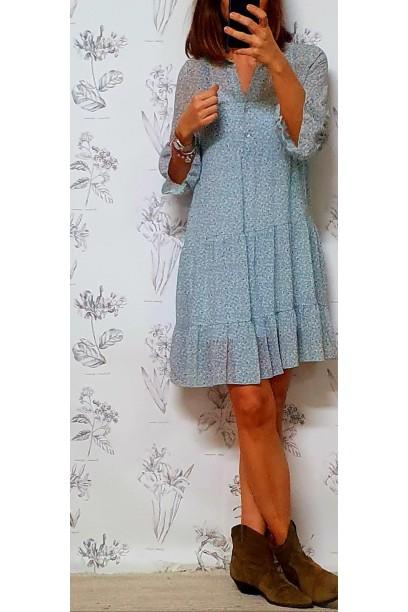 Vestido corto de flores tipo gasa azul