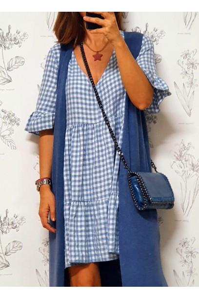 Vestido corto de cuadros vichy azul