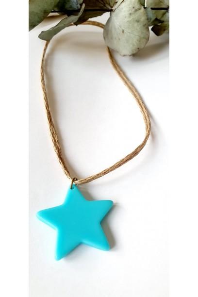 Collar tipo gargantilla star de colores turquesa