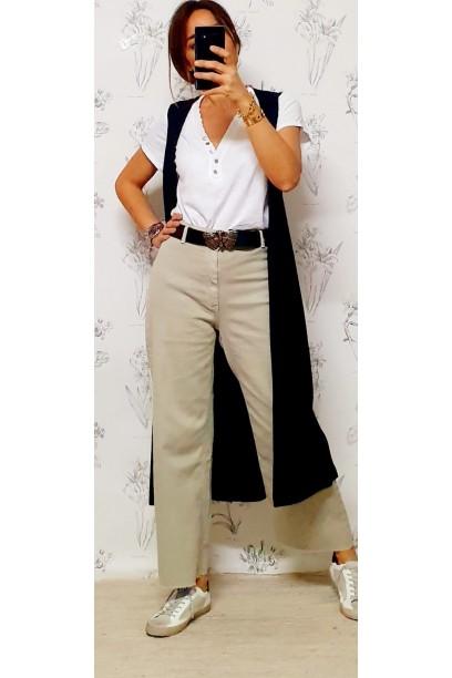 Pantalón vaquero  de tiro alto color piedra