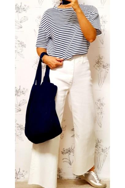 Camiseta de rayas  manga corta cuello caja azul marino