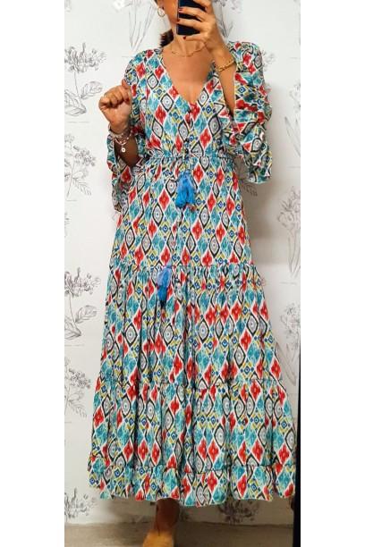 Vestido indio estampado turquesa