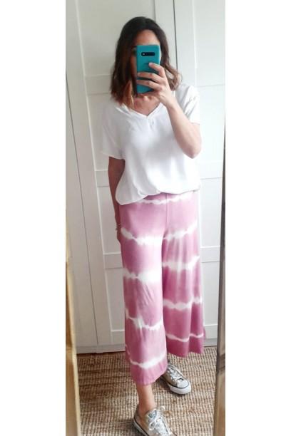 Pantalón culotte tie dye rosa antiguo