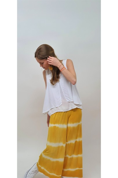 Pantalón culotte tie dye mostaza