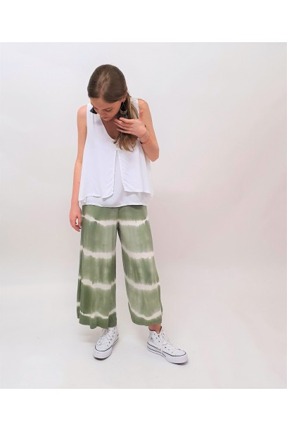 Pantalón culotte tie dye  verde militar