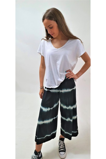 Pantalón culotte tie dye negro
