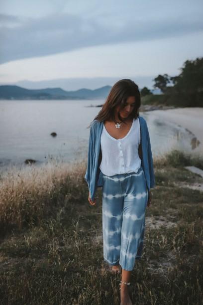 Pantalón culotte tie dye  azul jeans