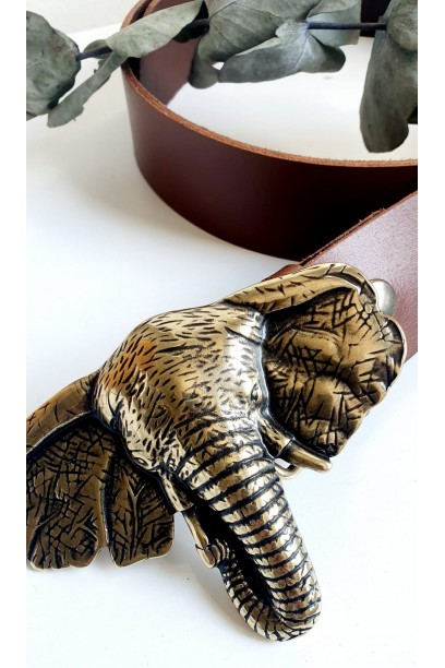 Cinturón de piel camel con hebilla cabeza de elefante