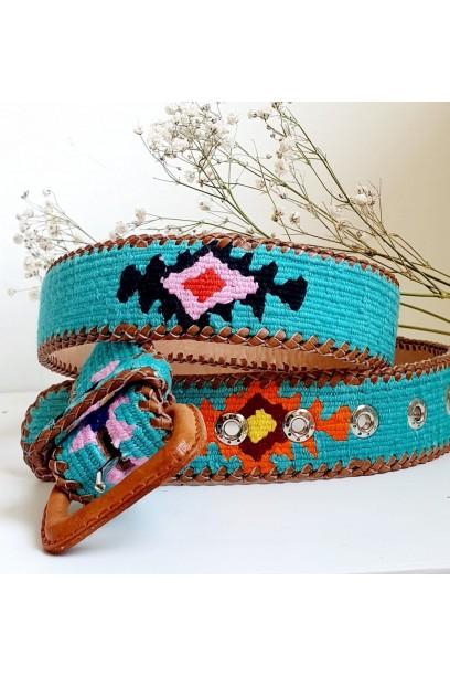 Cinturones kilim turquesa
