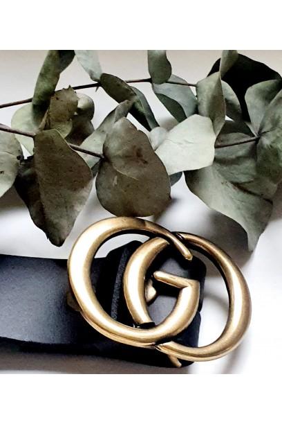Cinturón de piel negro con hebilla G