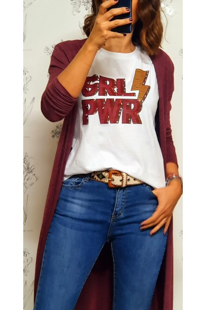 Camiseta blanca con mensaje GIRL POWER