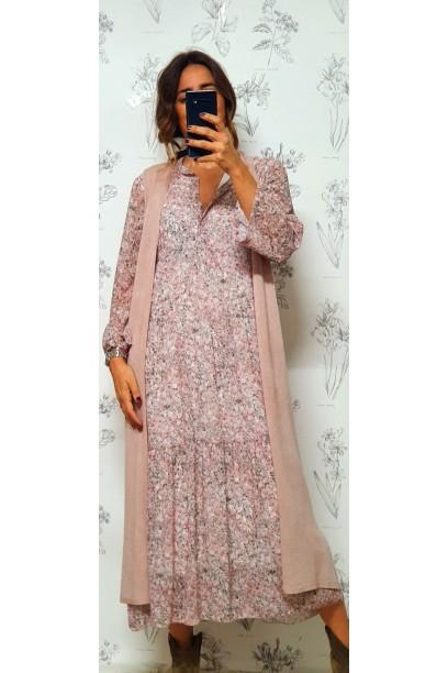 Vestido tipo gasa estampados pequeñas rosa