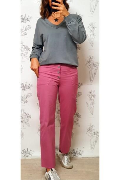 Pantalón tipo vaquero fino con bolsillos rosa antiguo