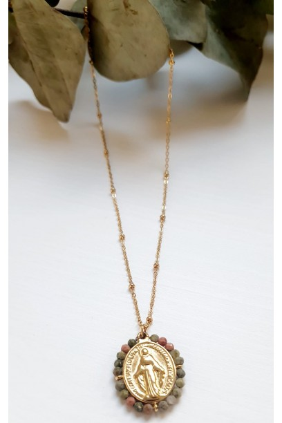 Gargantilla de acero con  la Medallita de la  Milagrosa y piedras rosas