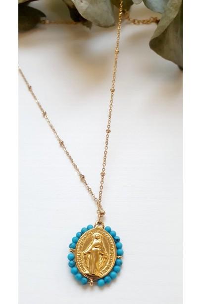 Gargantilla de acero con  la Medallita de la  Milagrosa y piedras turquesas