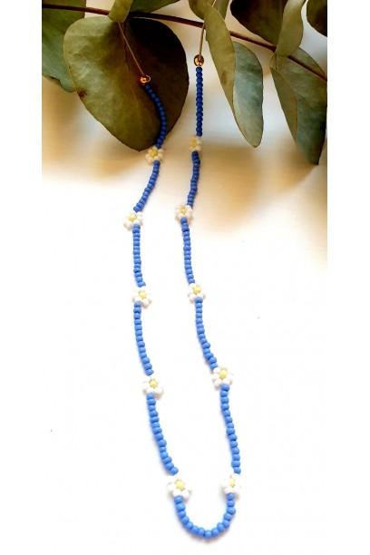 Gargantilla de margarita con piedras de colores azul