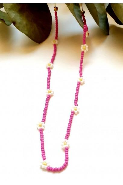 Gargantilla de margarita con piedras de colores rosa