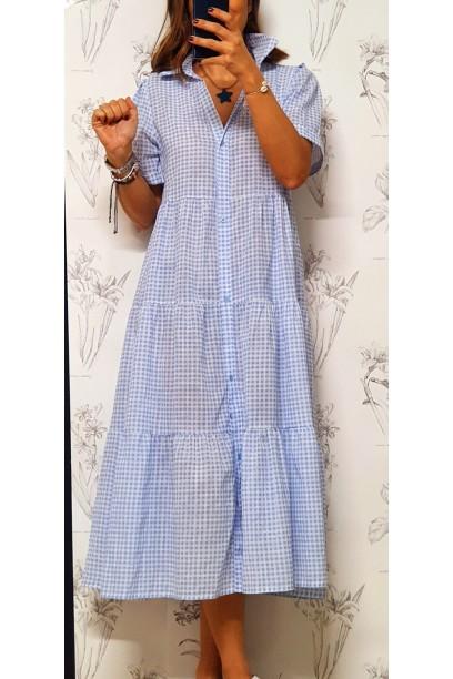 Vestido largo de cuadro vichy con cortes azul