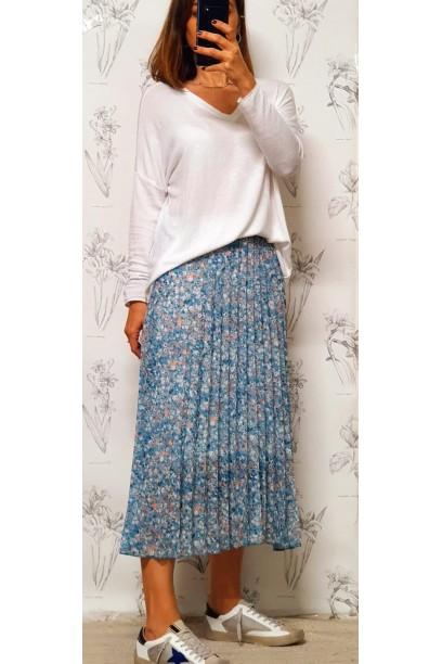 Falda larga plisada estampada flores azul