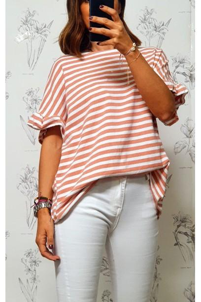 Camiseta de punto oversize con volante en la manga coral