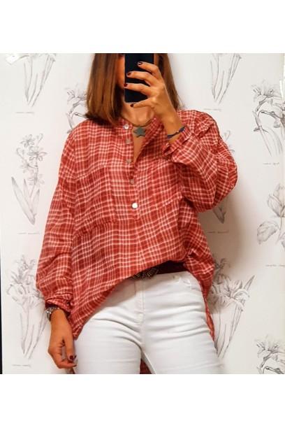 Camisa de cuadros coral