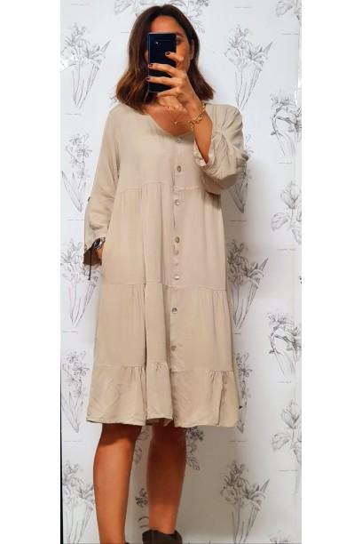 Vestido oversize abotonado con cortes beige