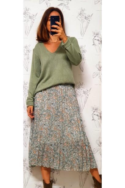 Falda larga plisada estampada flores verde