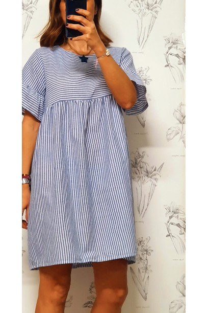 Vestido corto de rayas media blanco y azul