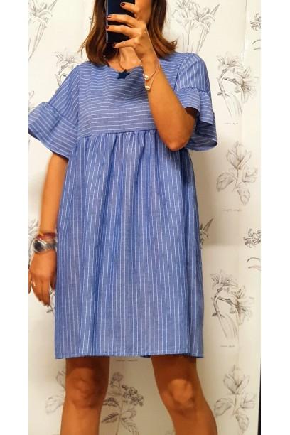 Vestido corto de rayas azul y blanco