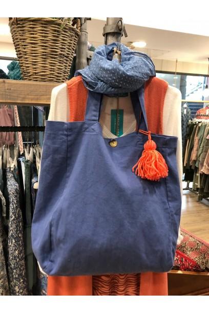 Bolso de loneta azul con opción de personalizarlo