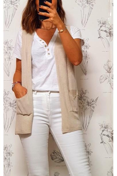 Chaleco beige de mujer corto con bolsillos