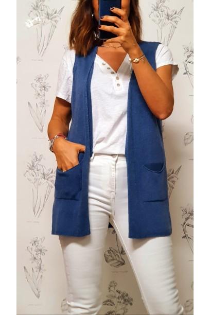 Chaleco azul de mujer corto con bolsillos