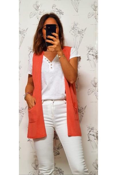Chaleco coral de mujer corto con bolsillos