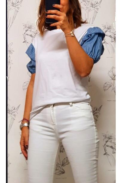 Camiseta de mujer manga abullonada con rayas