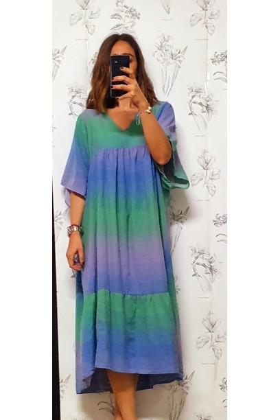 Vestido largo de colores en tonos azul