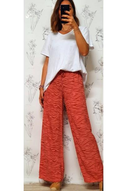 Pantalón oversize con estampado de cebra coral