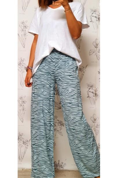 Pantalón oversize con estampado de cebra verde antiguo