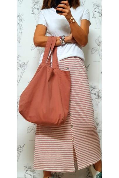 falda de rayas con botones y goma en la cintura rosa