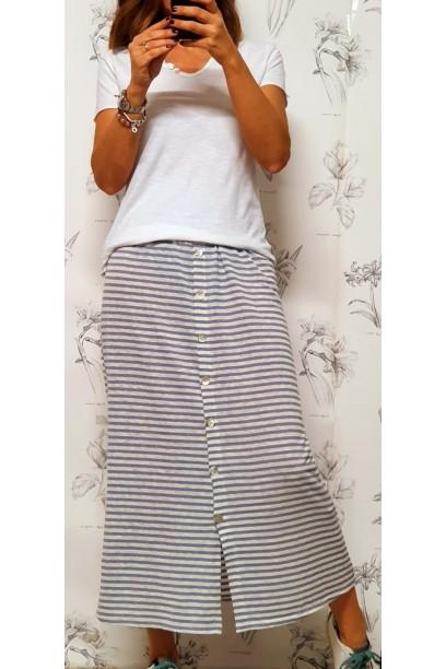 falda de rayas con botones y goma en la cintura azul