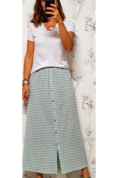 falda de rayas con botones y goma en la cintura