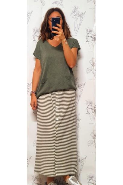 falda de rayas con botones y goma en la cintura verde militar