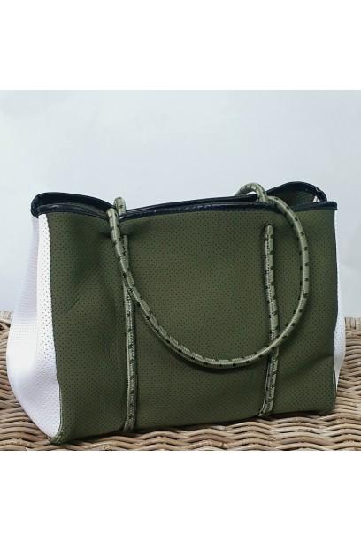 Bolso tipo neopreno dos colores verde y blanco  con opción de personalizarlo
