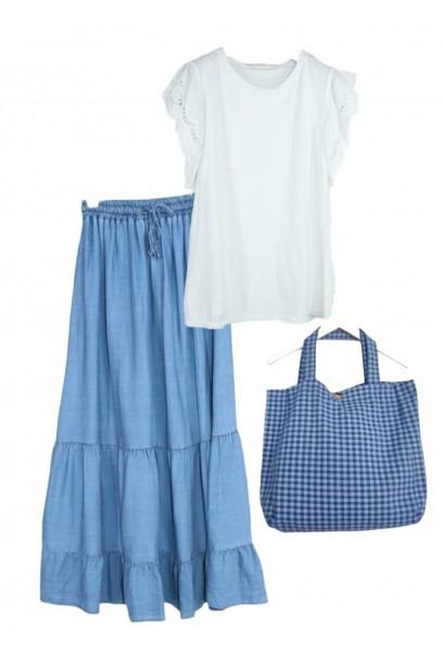 Falda  larga vaquera clara con goma en la cintura