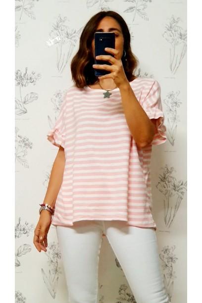 Camiseta de punto oversize con volante en la manga rosa
