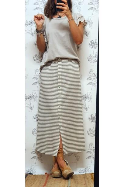 falda de rayas con botones y goma en la cintura beige