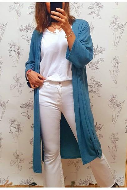 Chaqueta oversize larga de punto tipo canalé fino azul  con manga francesa