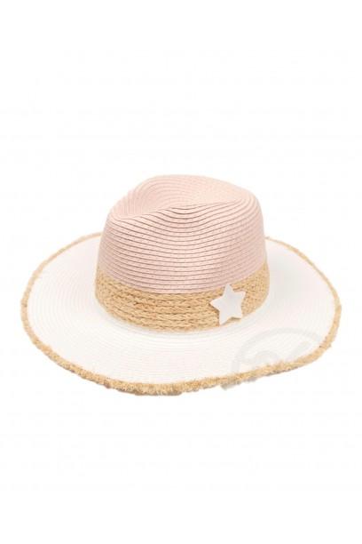 Sombrero rosa de playa bicolor con estrella de nacar