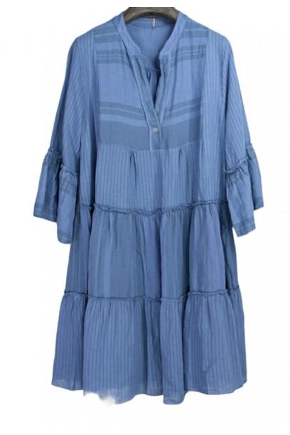 Vestido midi estampado manga francesa azul
